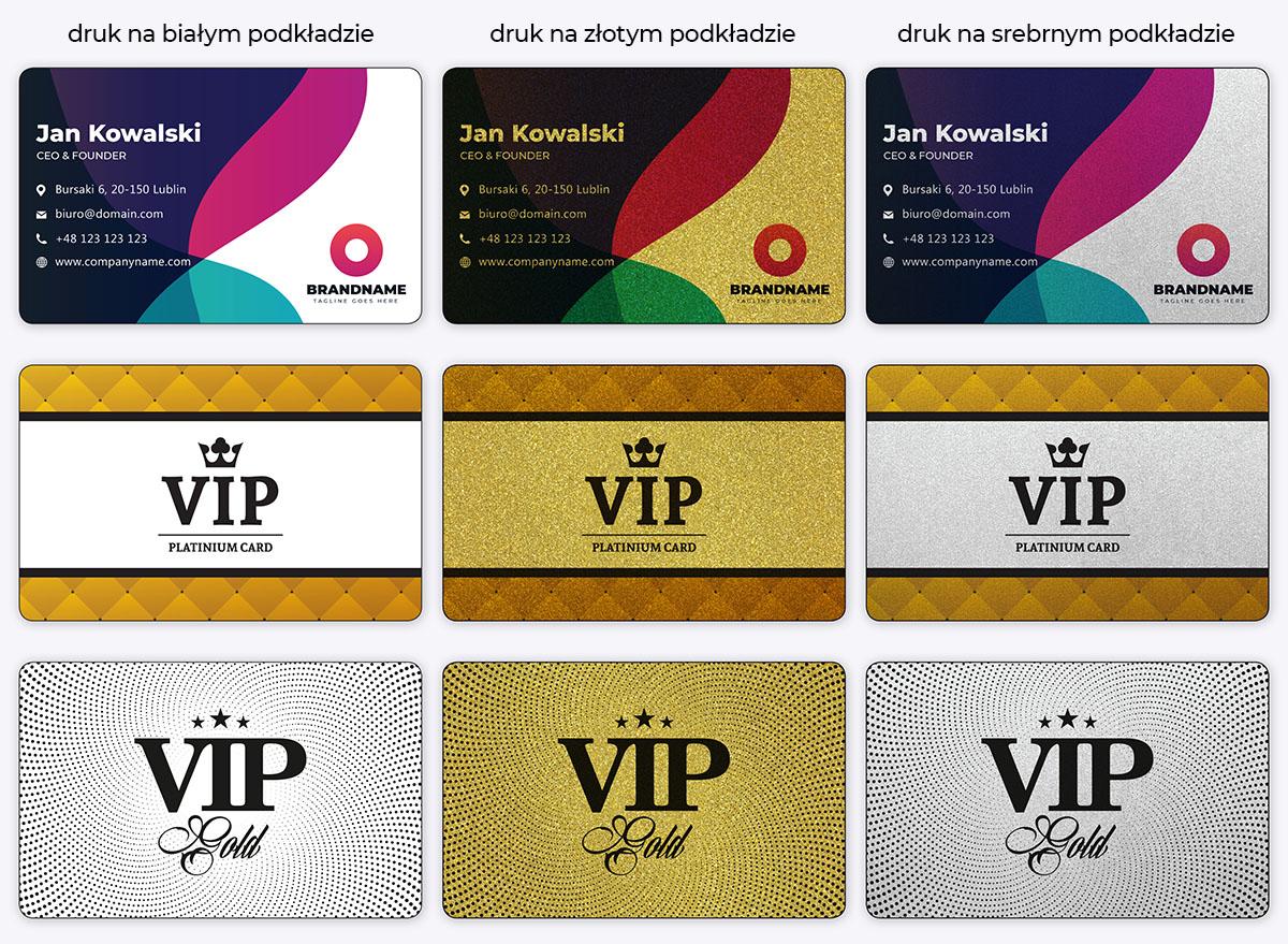 Karty plastikowe ze złotym lub srebrnym tłem